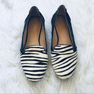 IMAN Zebra Calf Hair Glitter Flats Loafers